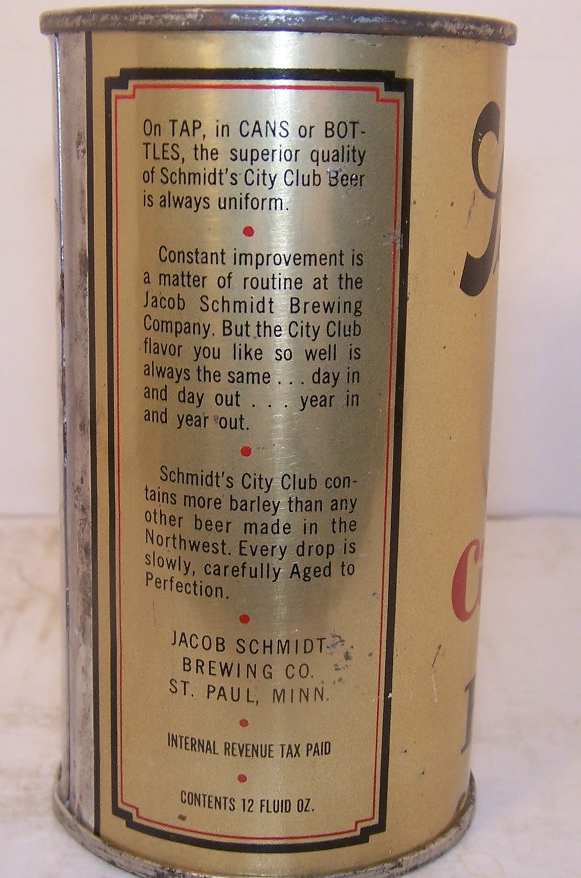 Schmidt's City Club Beer, Lilek Page # 744, Grade 1   Sold on 03/08/18