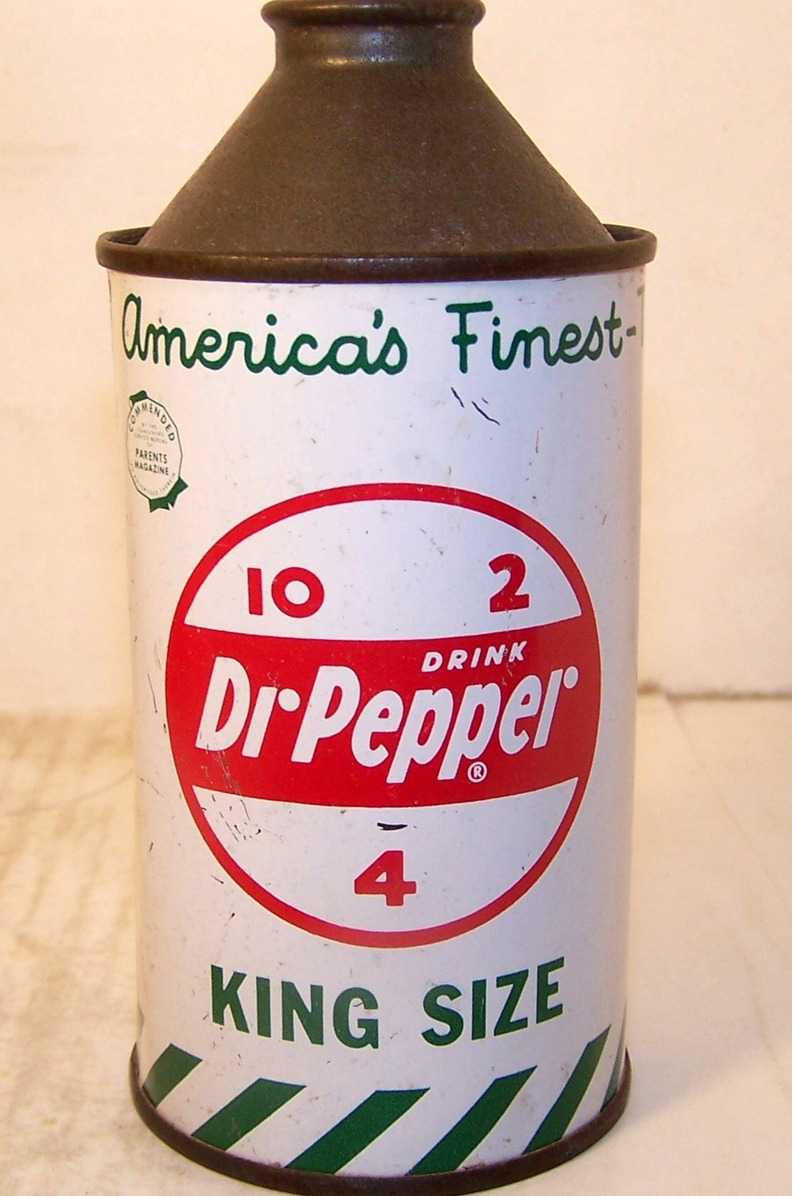 Dr. Pepper King Size 12 ounce, Collectible soda cans 2007 page #52, Grade 1.  Sold 1/29/15