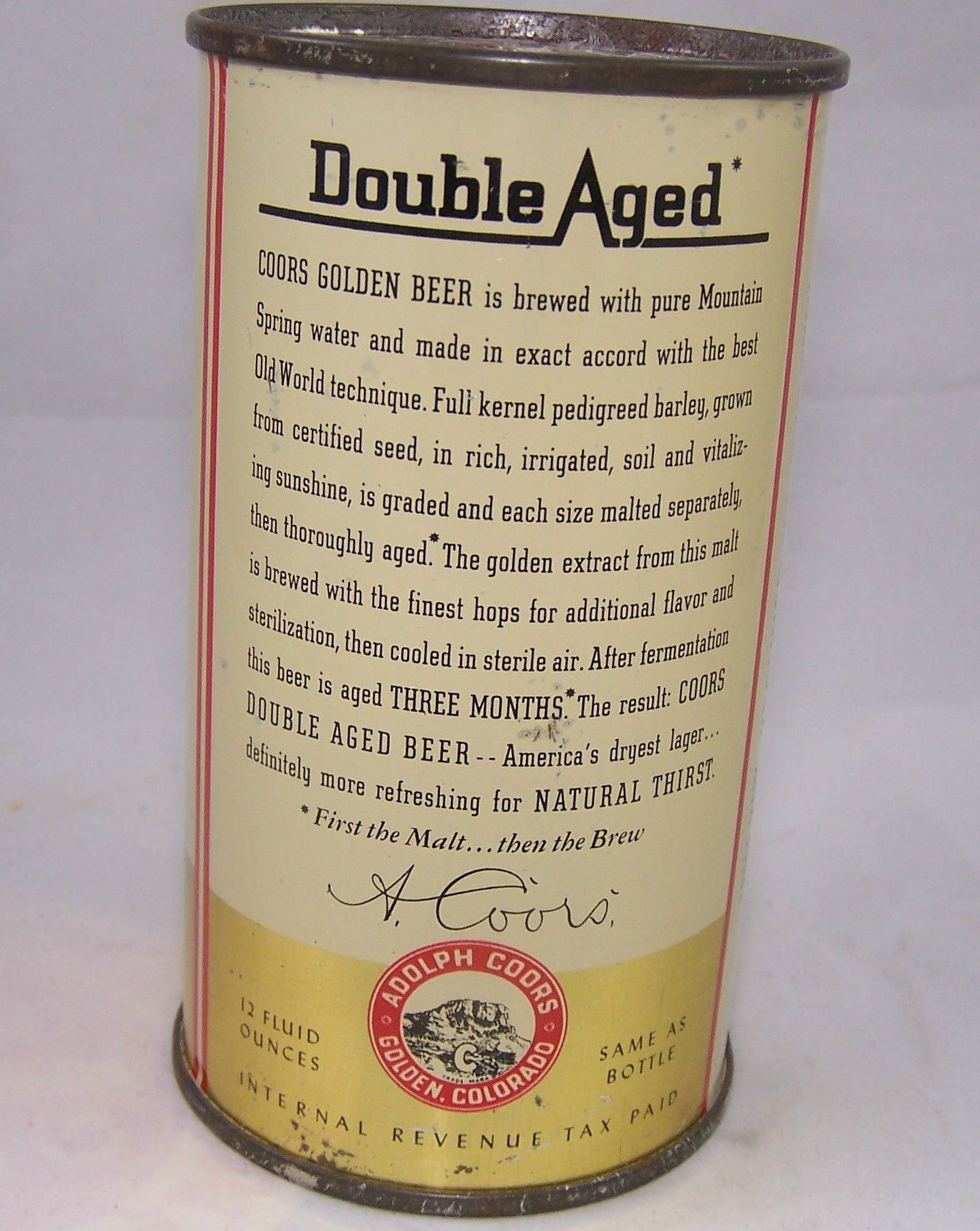 Coors Golden Double Aged, USBC 51-19, Grade 1/1- Sold on 04/02/17