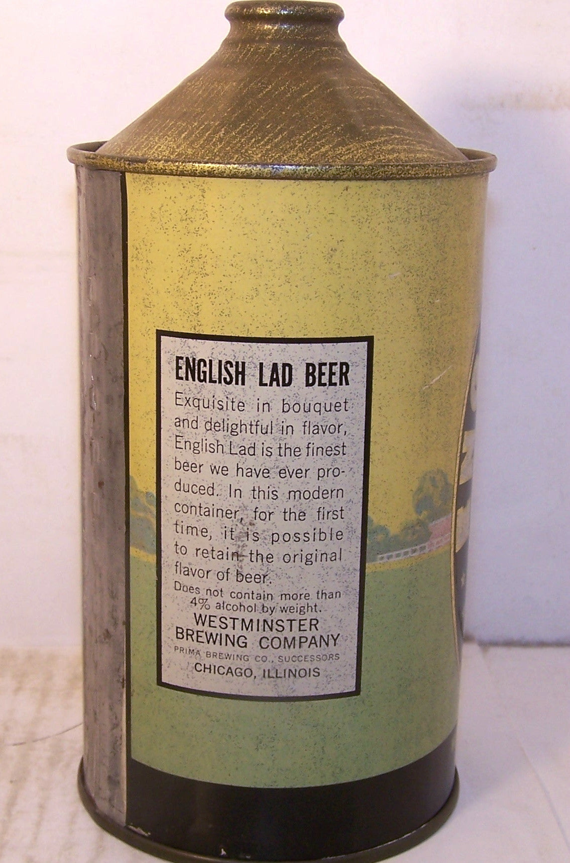 English Lad Beer, DNCMT 4%, USBC 208-3, Grade 1- Sold 7/10/15