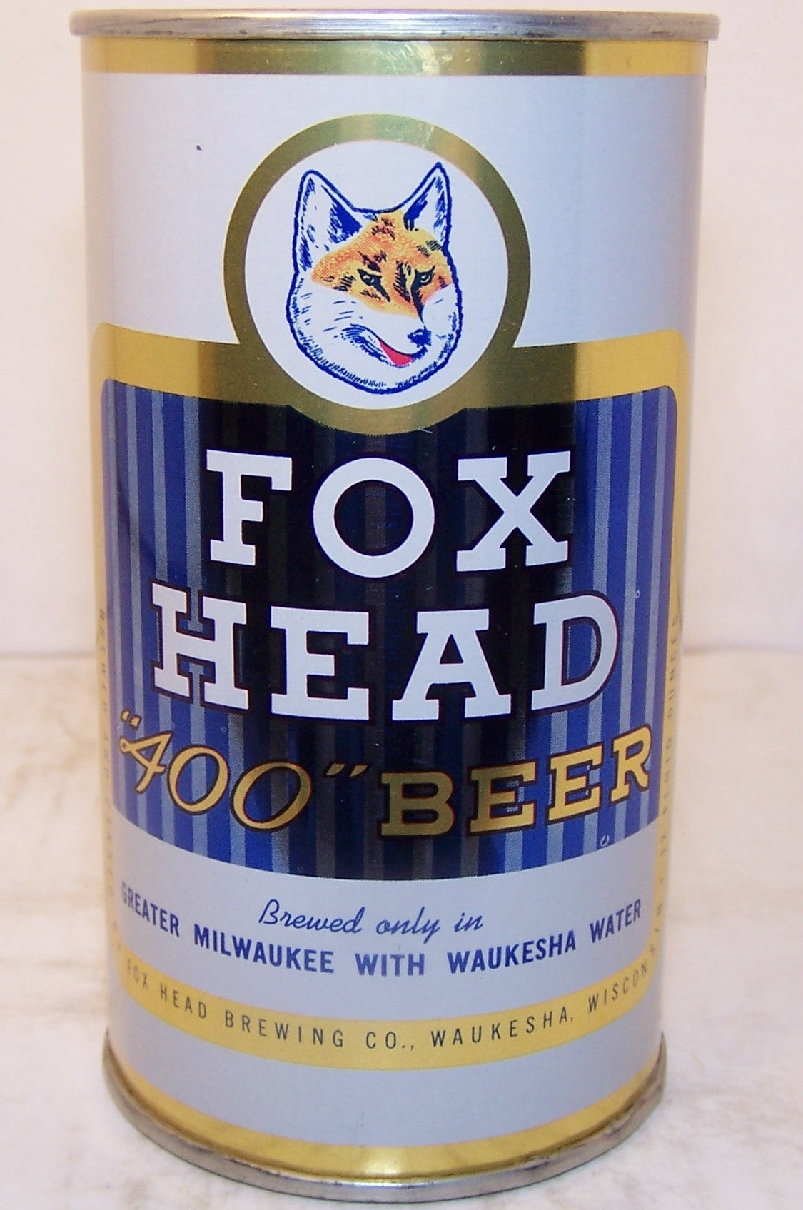 "Fox Head 400 Beer, ""Writing in Blue"" USBC 66-14, Grade A1+ Sold 3/7/15"