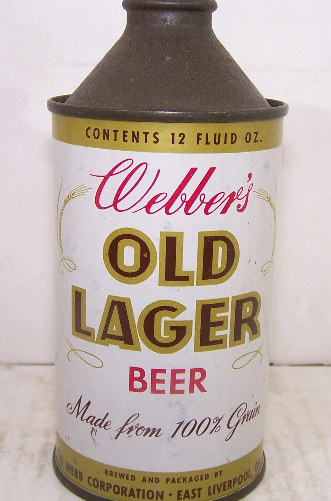 Webber's Old Lager Beer, Contains over 3.2% but less then 7% Usold 4/8/16SBC 188-26, Grade 1/1-