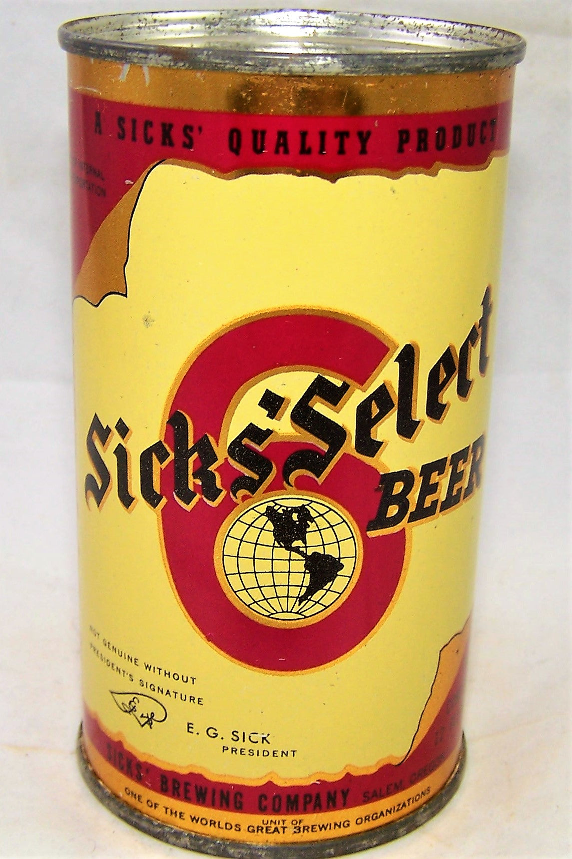 Sick's Select Beer, Withdrawn Free for export, Lilek #759, USBC 133-11, Grade 1