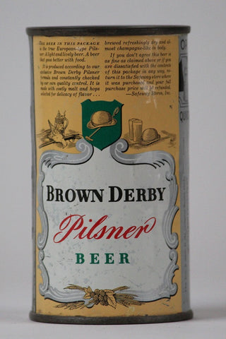 Brown Derby Pilsner Beer - ACTUAL can pictured on Lilek page #135