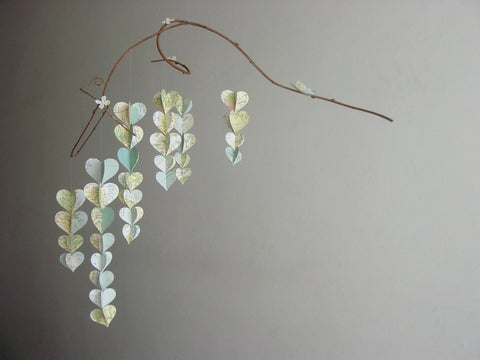 Heart Mobile - Upcycled from Atlas Pages