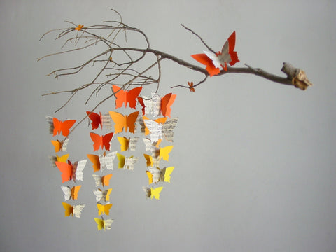 Butterfly Mobile - Orange to Yellow Ombre