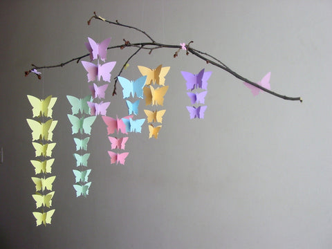 Butterfly Mobile - Pastel Rainbow