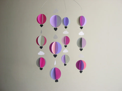 Hot Air Balloon Mobile - Bruised Berry