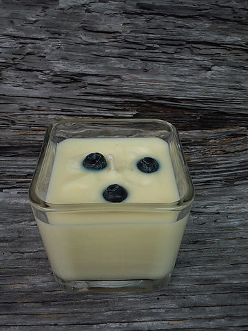 Small white candle with wax berries