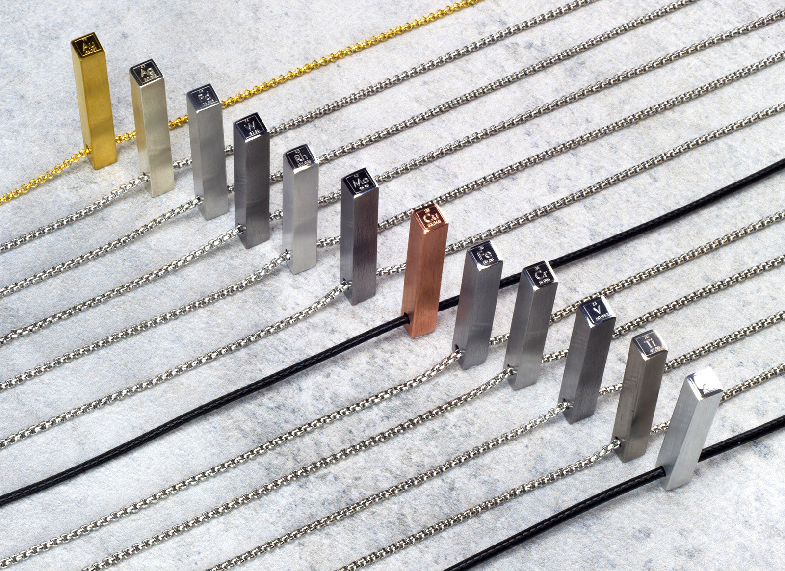 Vanacci mens pendants with meaning showing the elements of the periodic table