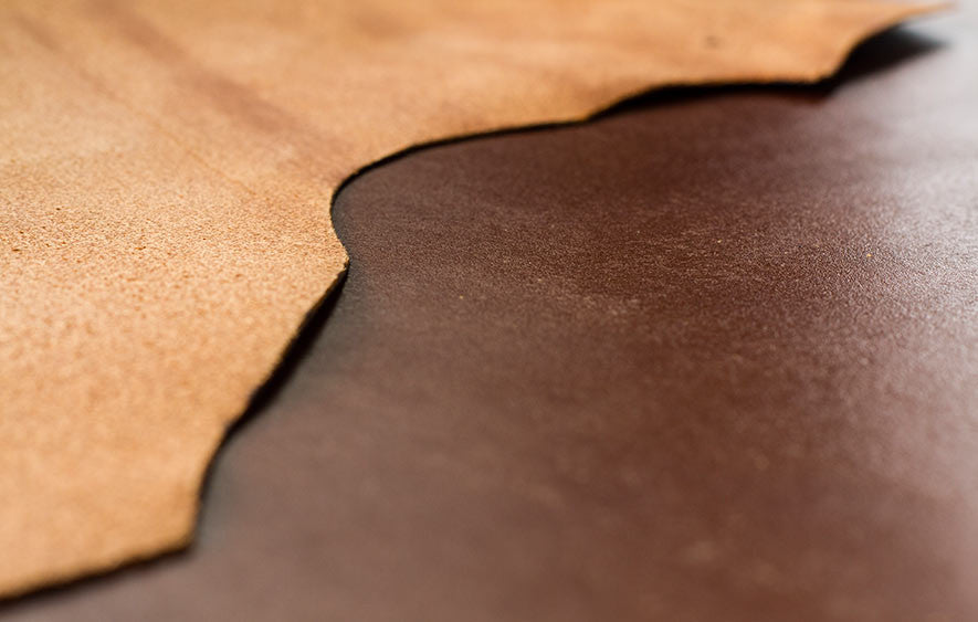 Brown Leather both topside and underside used in wallets