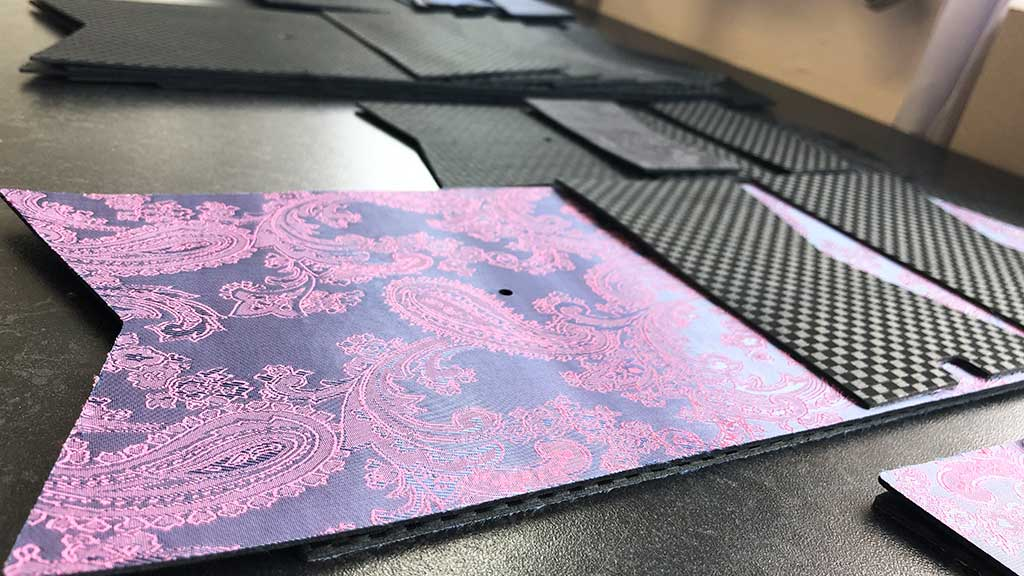 Purple paisley lined leather layout for Traveller Pioneer wallet