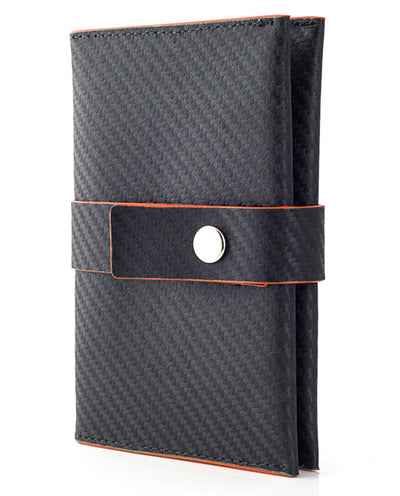 Vanacci travel wallet in black carbon effect leather and orange edges