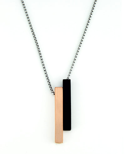 Vanacci mens element pendant in copper with black lockstone on a stainless steel chain