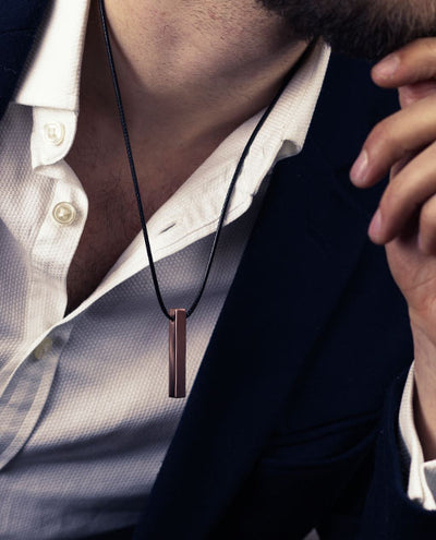 Vanacci mens element Copper pendant on a man