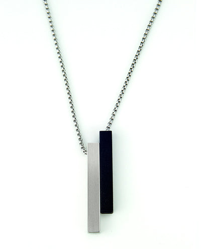 Vanacci mens element pendant in Tungsten with black lockstone on a stainless steel chain