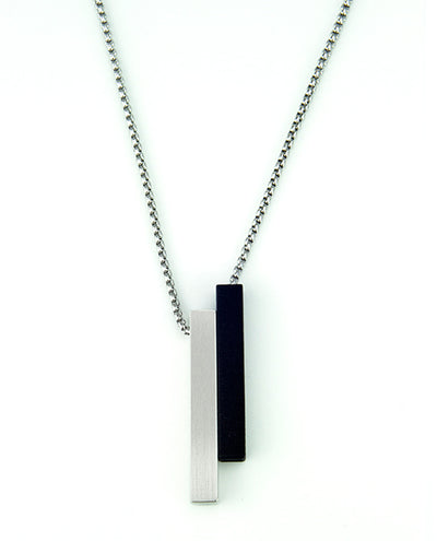 Vanacci mens element pendant in Palladium with black lockstone on a stainless steel chain