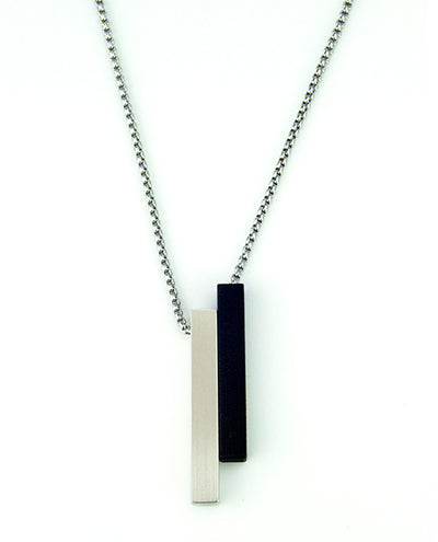 Vanacci mens element pendant in rhodium with black lockstone on a stainless steel chain