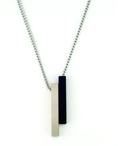 Vanacci mens element pendant in titanium with black lockstone on a stainless steel chain