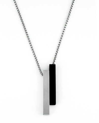 Vanacci mens element pendant in steel with black lockstone on a stainless steel chain