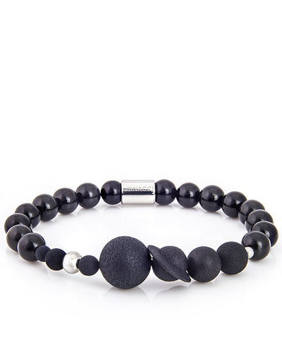 Mens Vanacci Lockstone Solar system Perfume Bracelet with Black Agate and pluto