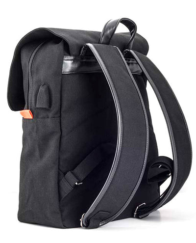 Vanacci canvas laptop backpack in black and orange with leather straps