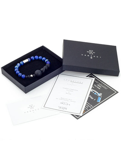 Vanacci Lockstone Lapis lazuli Perfume Bracelet with the planets of the solar system Boxed