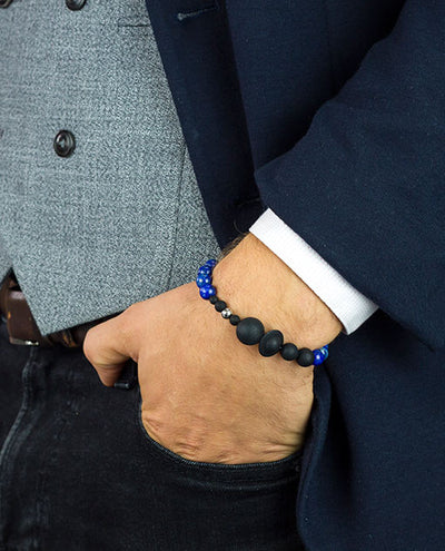 Vanacci Lockstone Lapis lazuli Perfume Bracelet with the planets of the solar system on a smart man