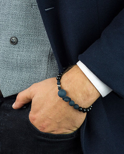 Solaris Black Agate Perfume Bracelet worn on a man