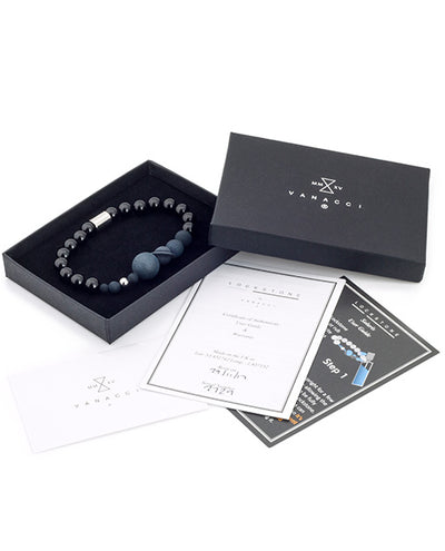 Solaris Black Agate Perfume Bracelet in a black velvet box
