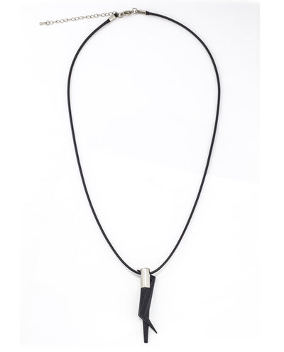 Vanacci Geo Pendant in black and stainless steel on a black necklace  with clasp