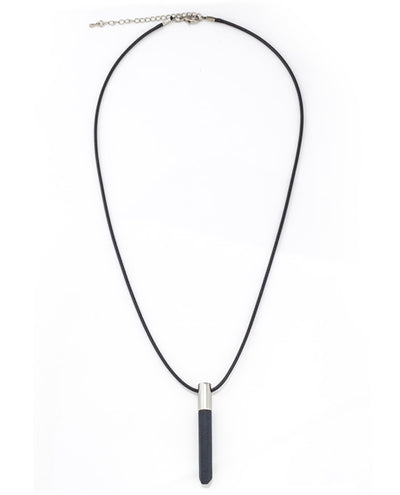 Vanacci Geo hex Pendant in black and stainless steel showing clasp