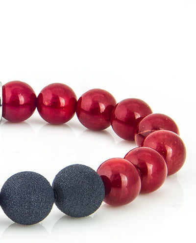 Vanacci Red coral bracelet with fragrance beads