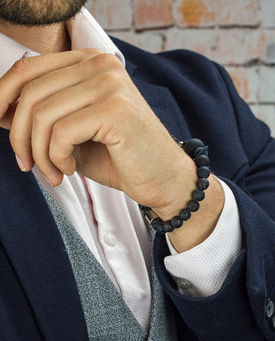 Vanacci Lockstone Solar system Perfume Bracelet with Grey Lava stone on a smart man