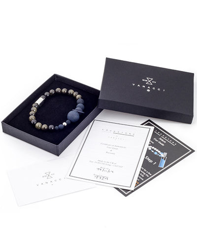 Mens Vanacci Lockstone Solar system Perfume Bracelet with back and obsidian beads in a box