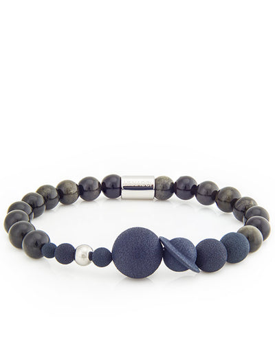 Mens Vanacci Lockstone Solar system Perfume Bracelet with back and obsidian beads