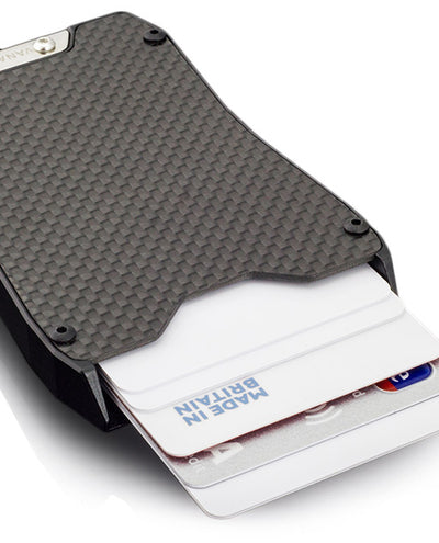 Vanacci Stealth carbon fiber card holder in use