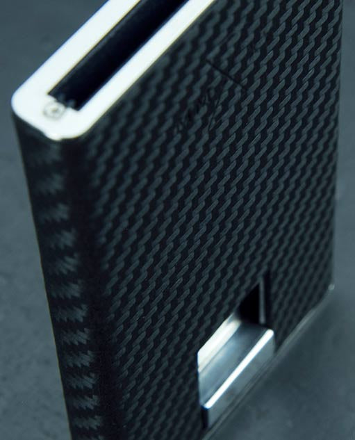 Vanacci Carbon Wallet in GT Leather and stainless steel font and back