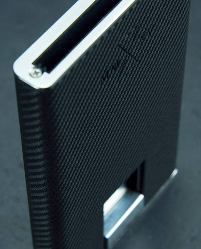 Vanacci Carbon Wallet in Mach Leather and stainless steel