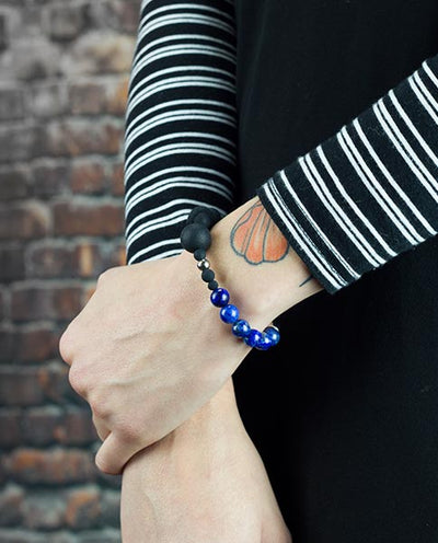 Vanacci Lockstone Lapis lazuli Perfume Bracelet worn on woman