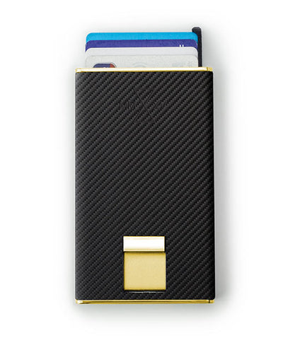 Vanacci Carbon Gold Wallet in Mach Leather ejecting cards