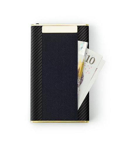 Vanacci Carbon Gold Wallet in Mach Leather back cash storage