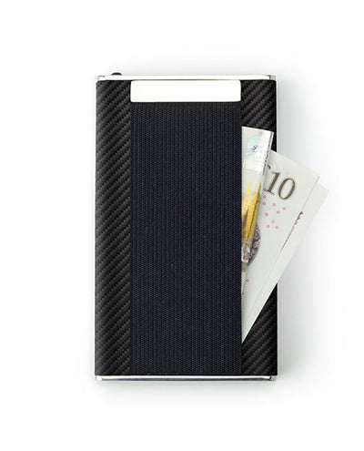Vanacci Carbon Wallet in Mach Leather storing cash in the back