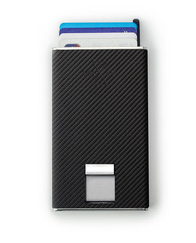 Vanacci Carbon Wallet in Mach Leather ejecting cards