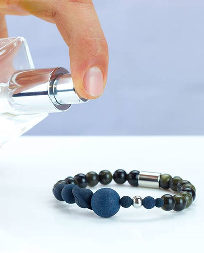 Womens Vanacci Lockstone Solar system Perfume Bracelet with back and obsidian beads