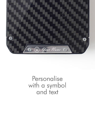 Vanacci Stealth 3 wallet with carbon fiber and personalised