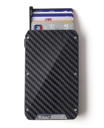 Vanacci Stealth 3 wallet with carbon fiber front ejecting credit cards