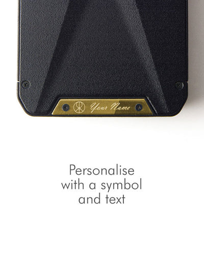 Vanacci Stealth 3 wallet with personalised plate in gold