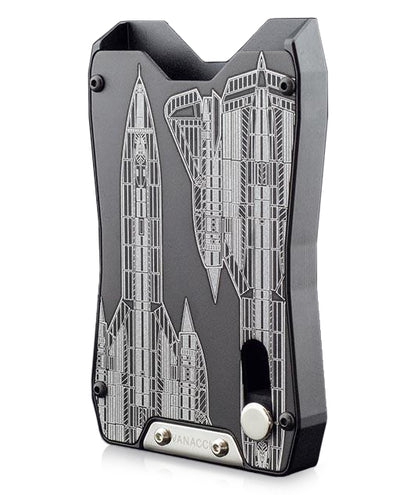 Vanacci black credit card holder. Engraved with the SR71 Blackbird