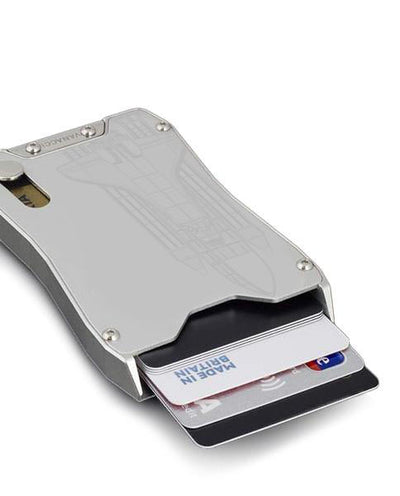 Vanacci Stealth aluminum credit card holder, Discovery Engraved ejecting cards